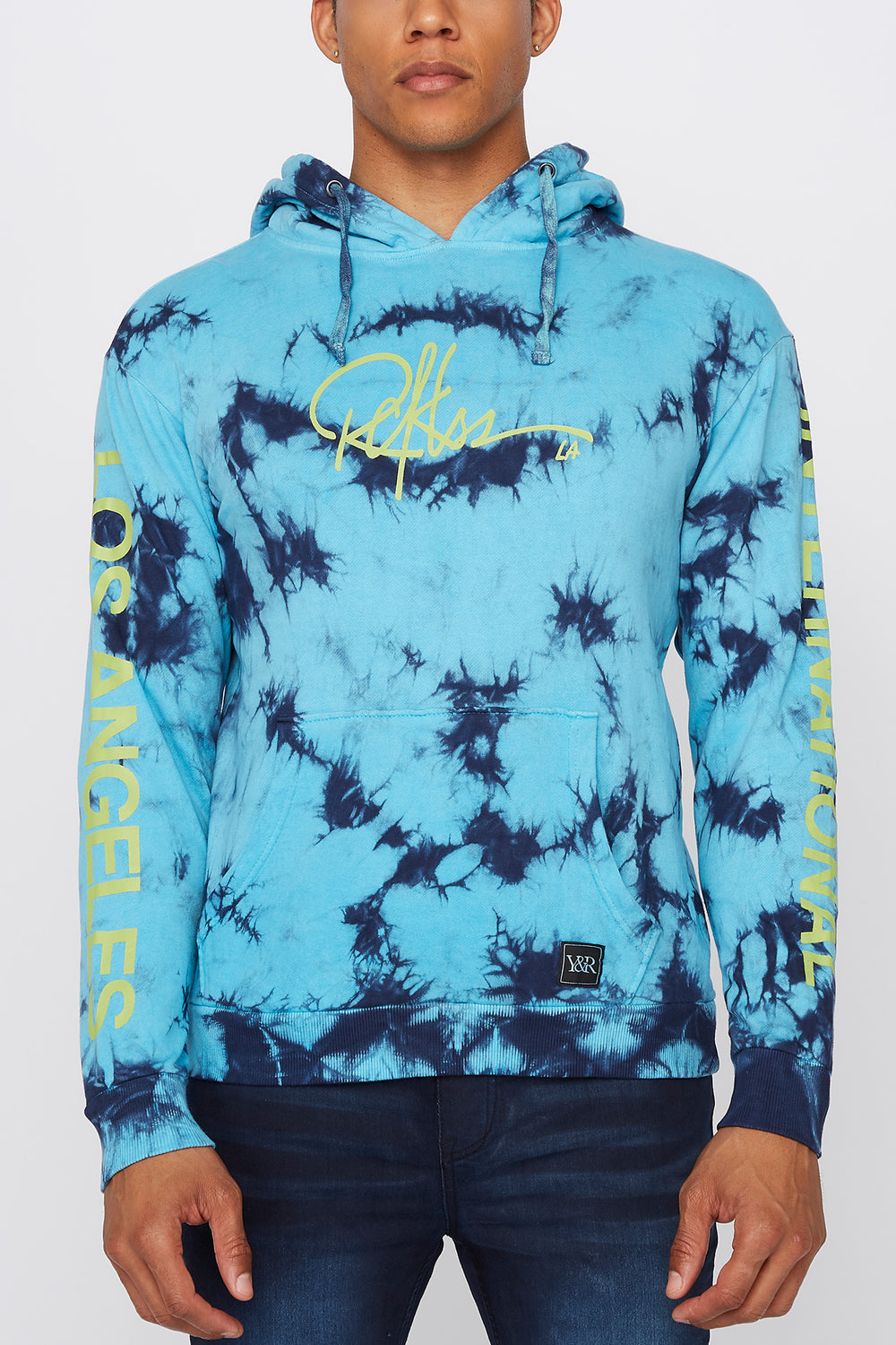 Young & Reckless Mens LA Tie-Dye Pullover Hoodie Blue