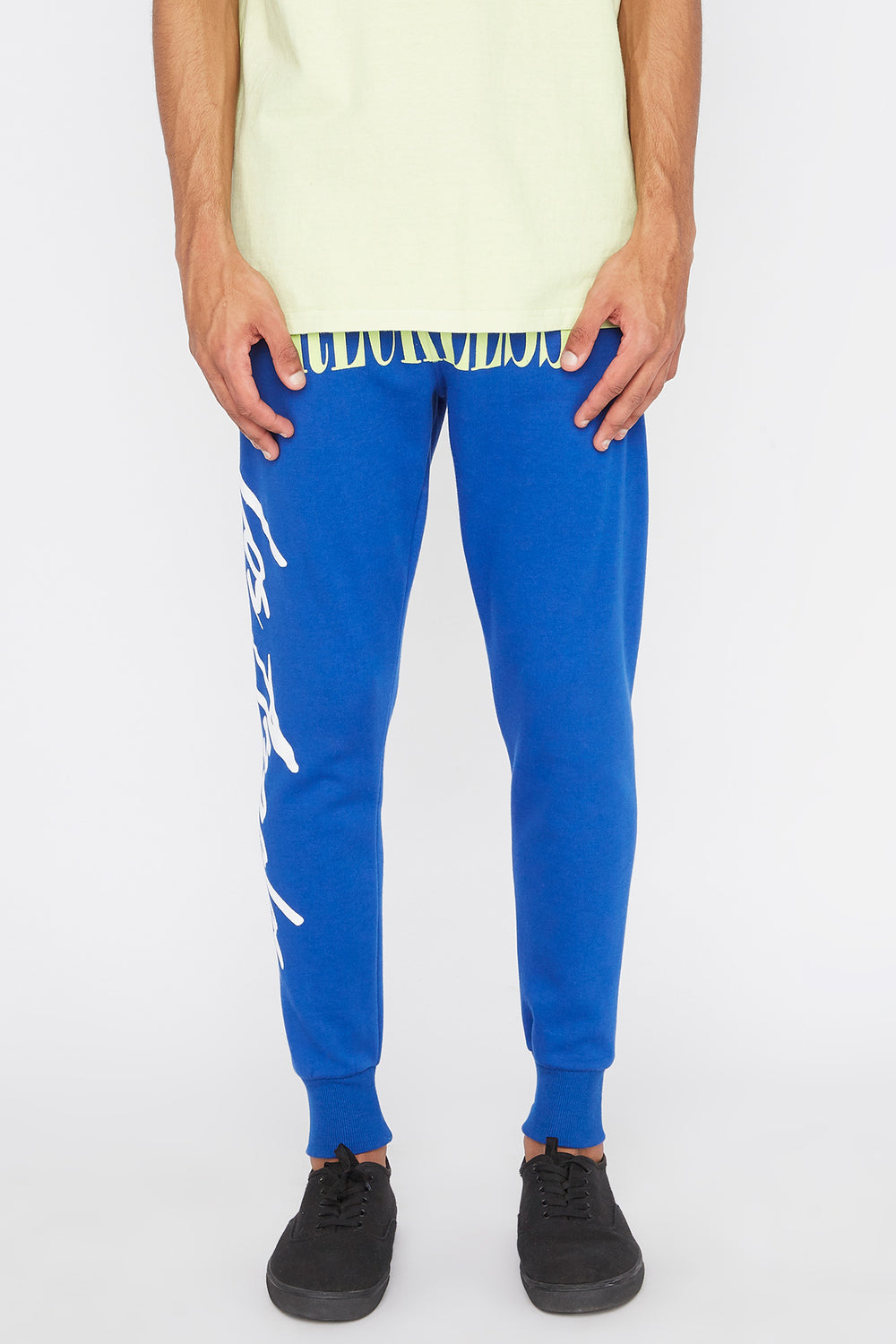 Young & Reckless Mens Retro Script Jogger Blue