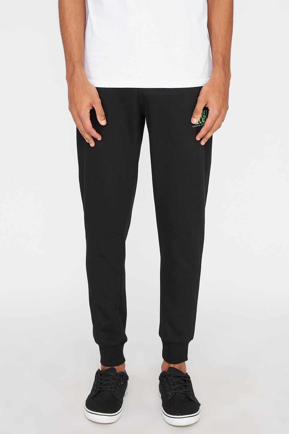 Young & Reckless Mens Neon Accent Joggers Black