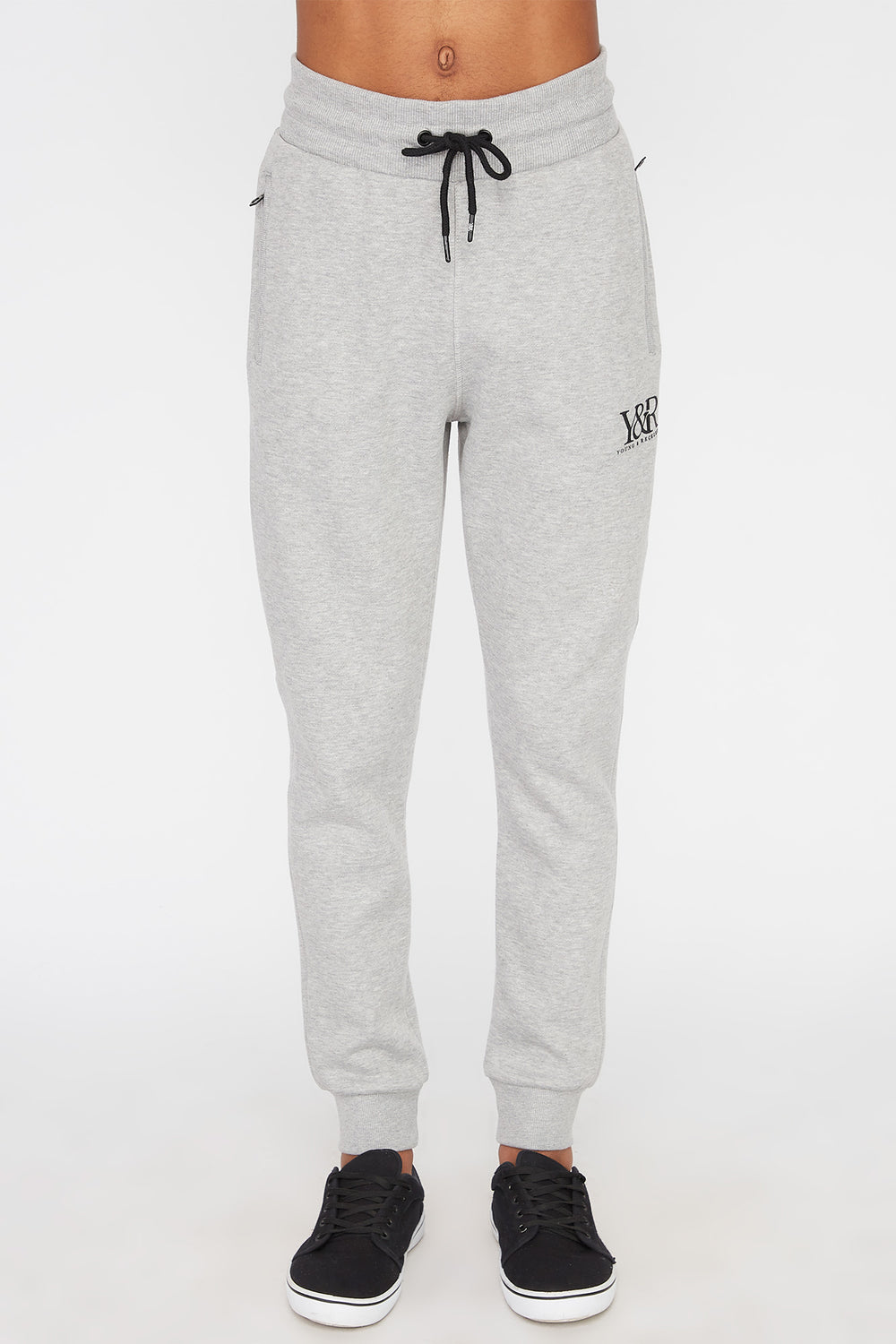 Young & Reckless Mens Neon Accent Joggers Heather Grey