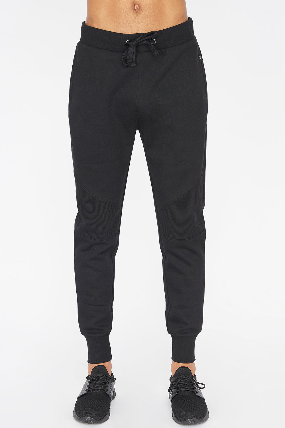 West49 Mens Solid Moto Jogger Black