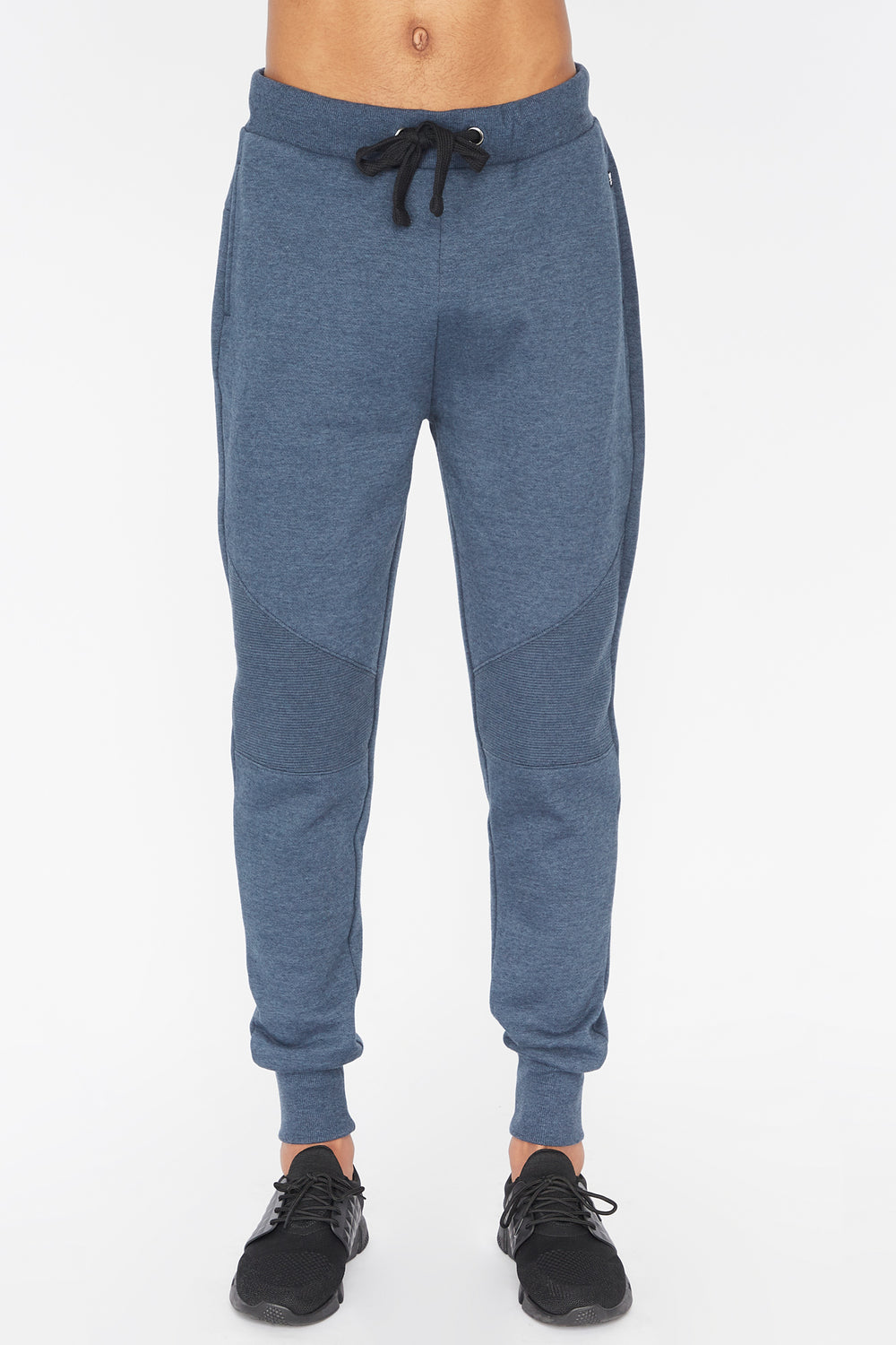 West49 Mens Solid Moto Jogger Denim Blue