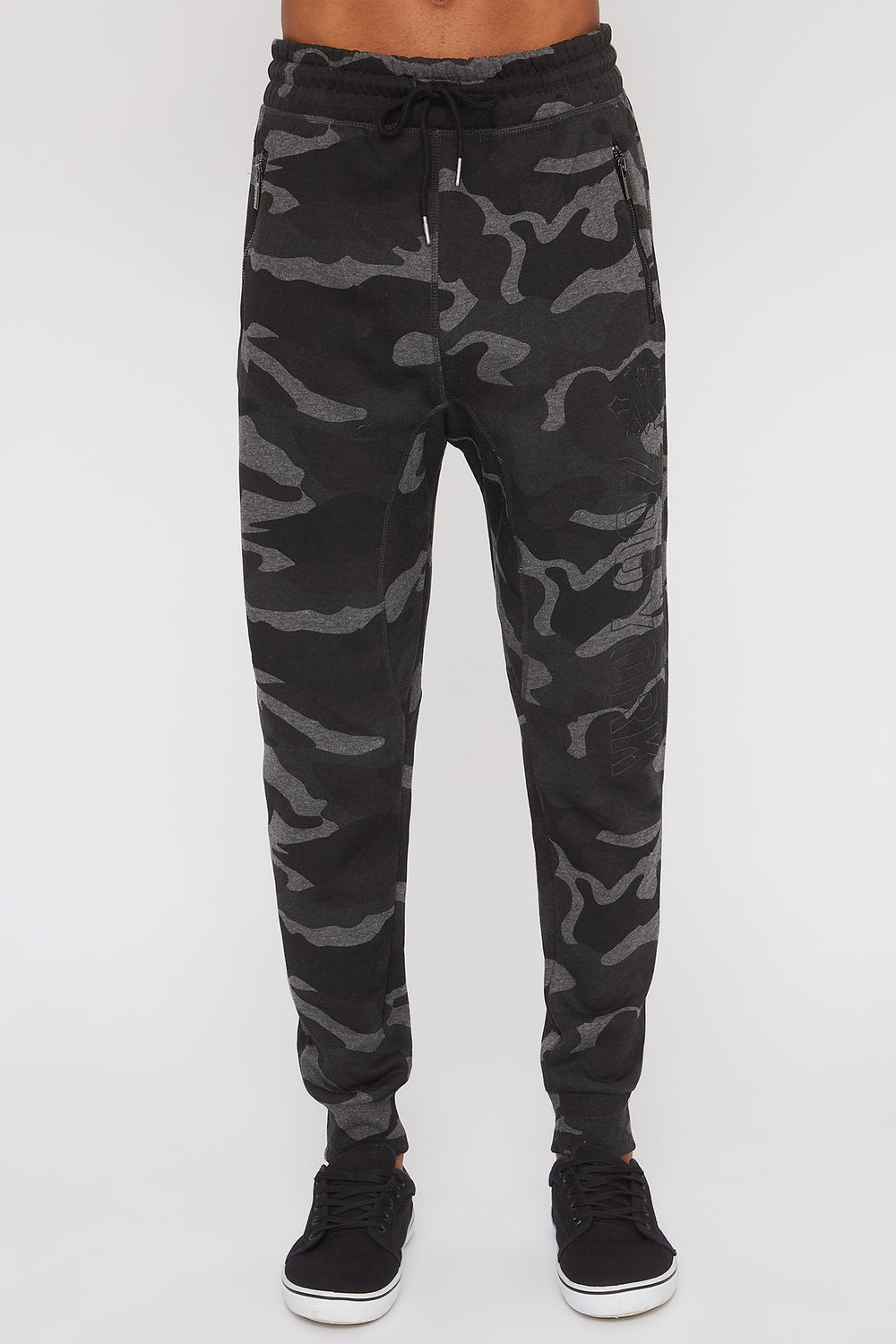 Zoo York Mens 3-Pocket Camo Jogger Black with White