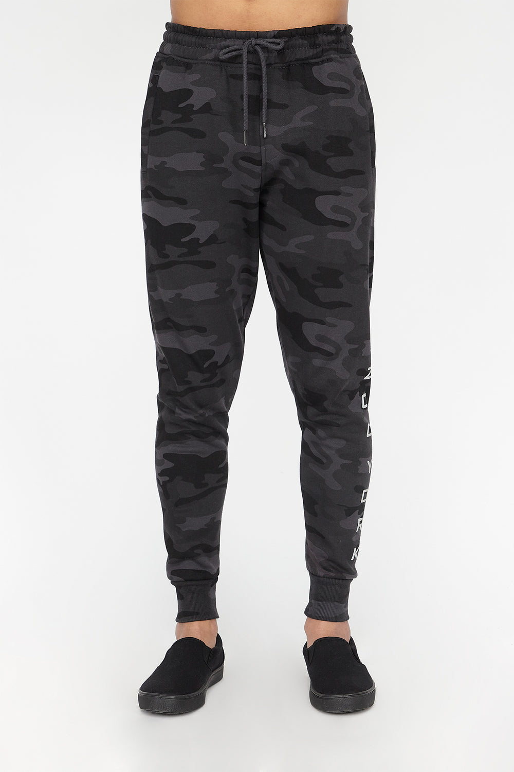 Zoo York Mens Camo Print Jogger Black with White