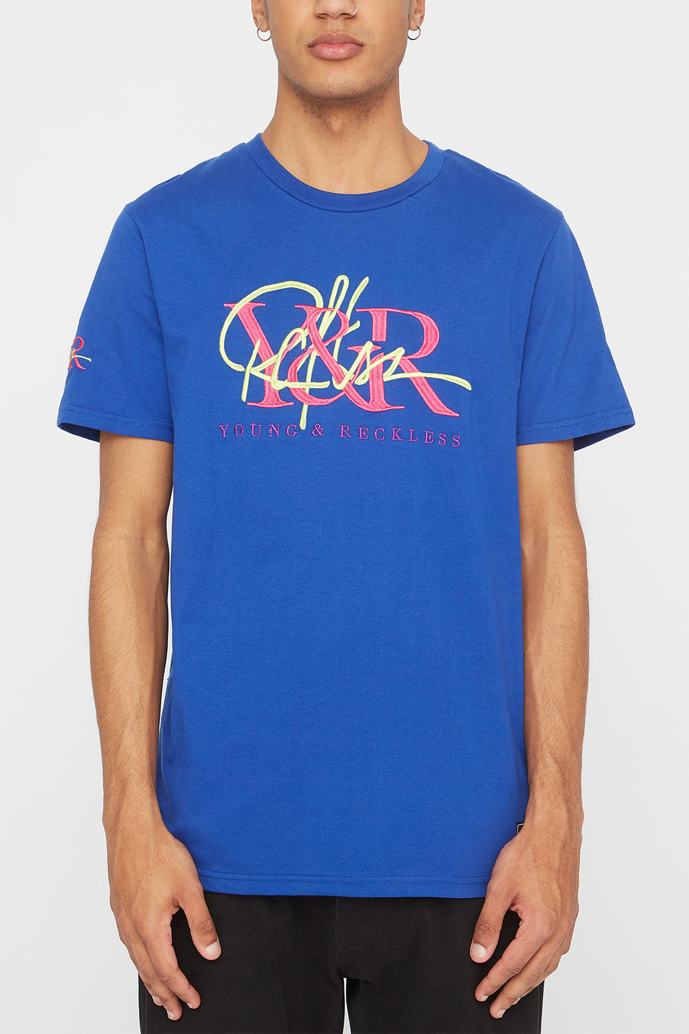 Young & Reckless Mens Embroidered Logo T-Shirt Blue