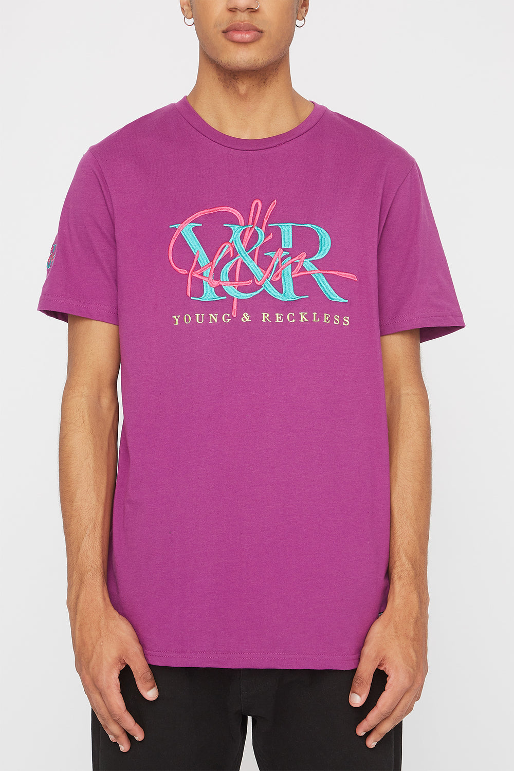 T-Shirt Logos Brodés Young & Reckless Homme Aubergine