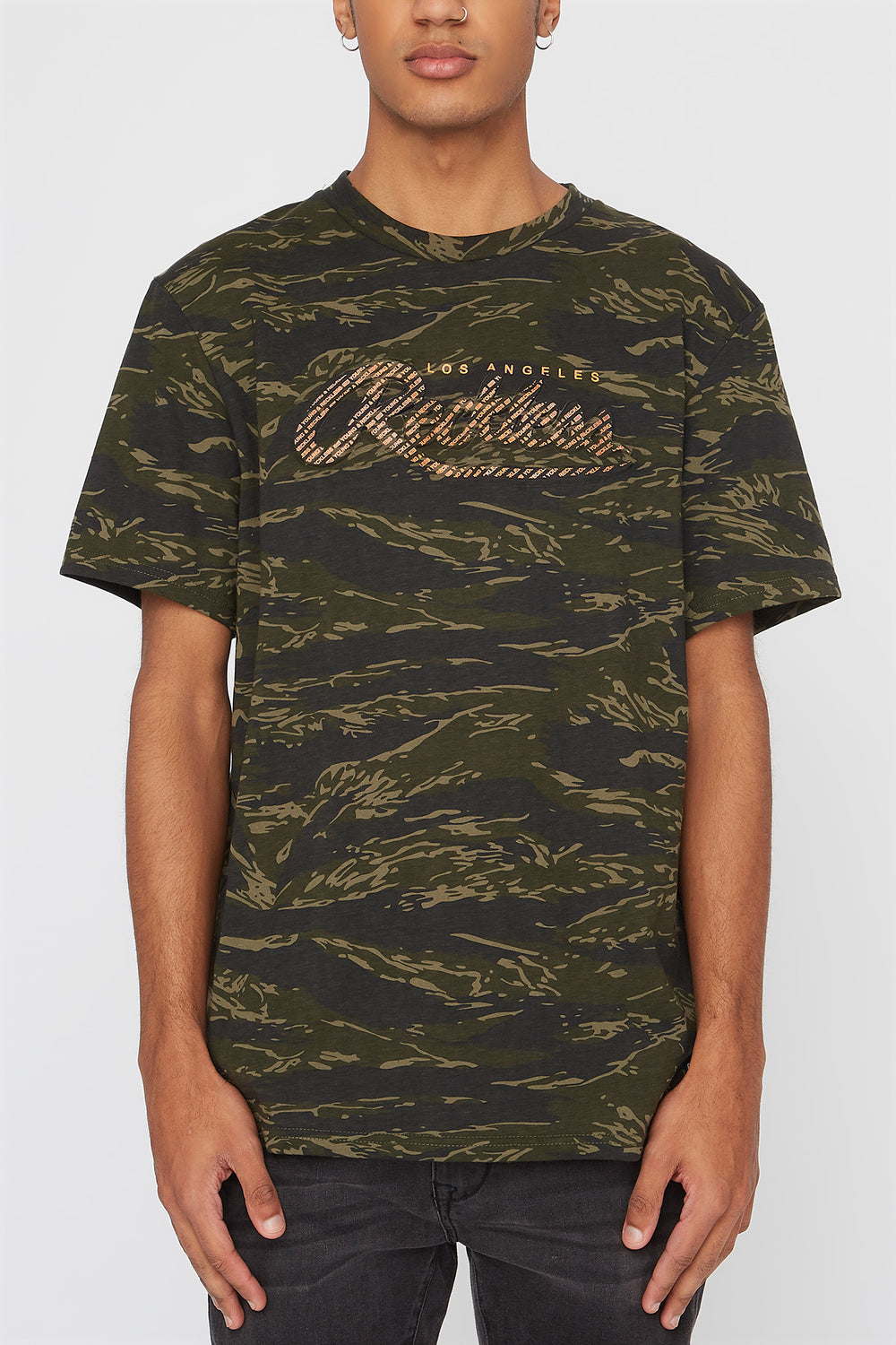 T-Shirt Imprimé Camouflage Et Fluo Young & Reckless Homme Camoufle