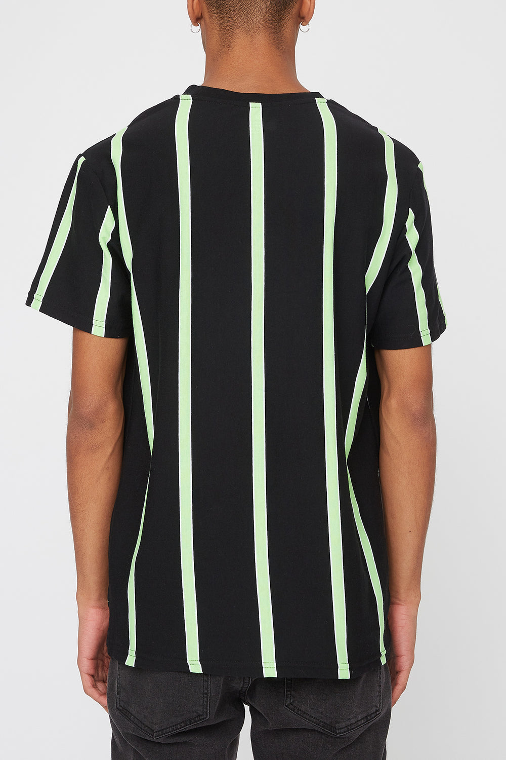 Young & Reckless Mens Neon Striped T-Shirt Black