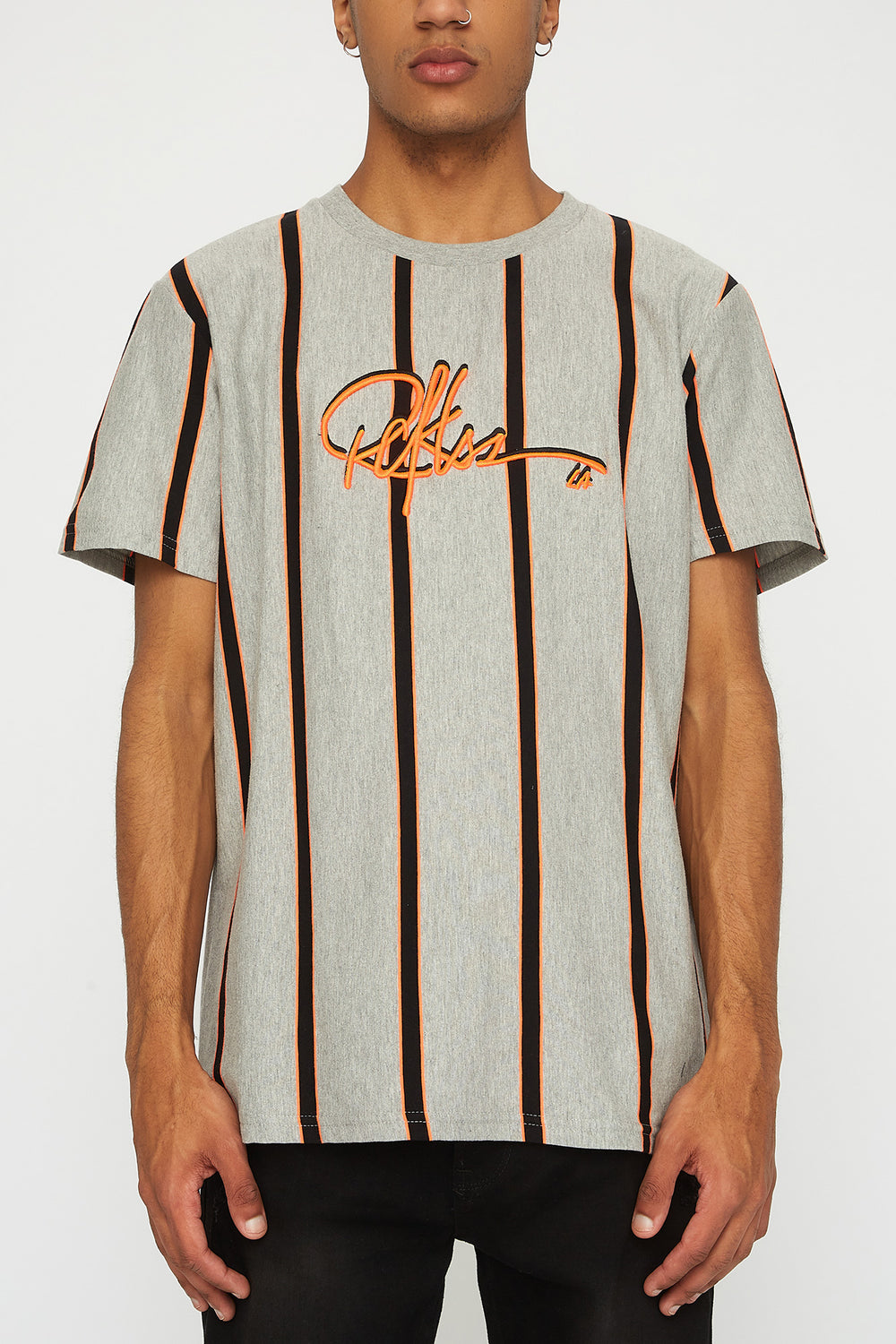 Young & Reckless Mens Neon Striped T-Shirt Charcoal