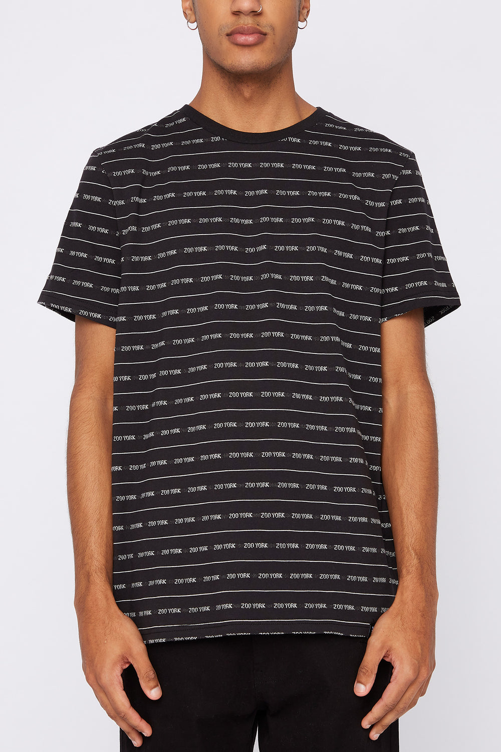 Zoo York Mens Jacquard Striped T-Shirt Black