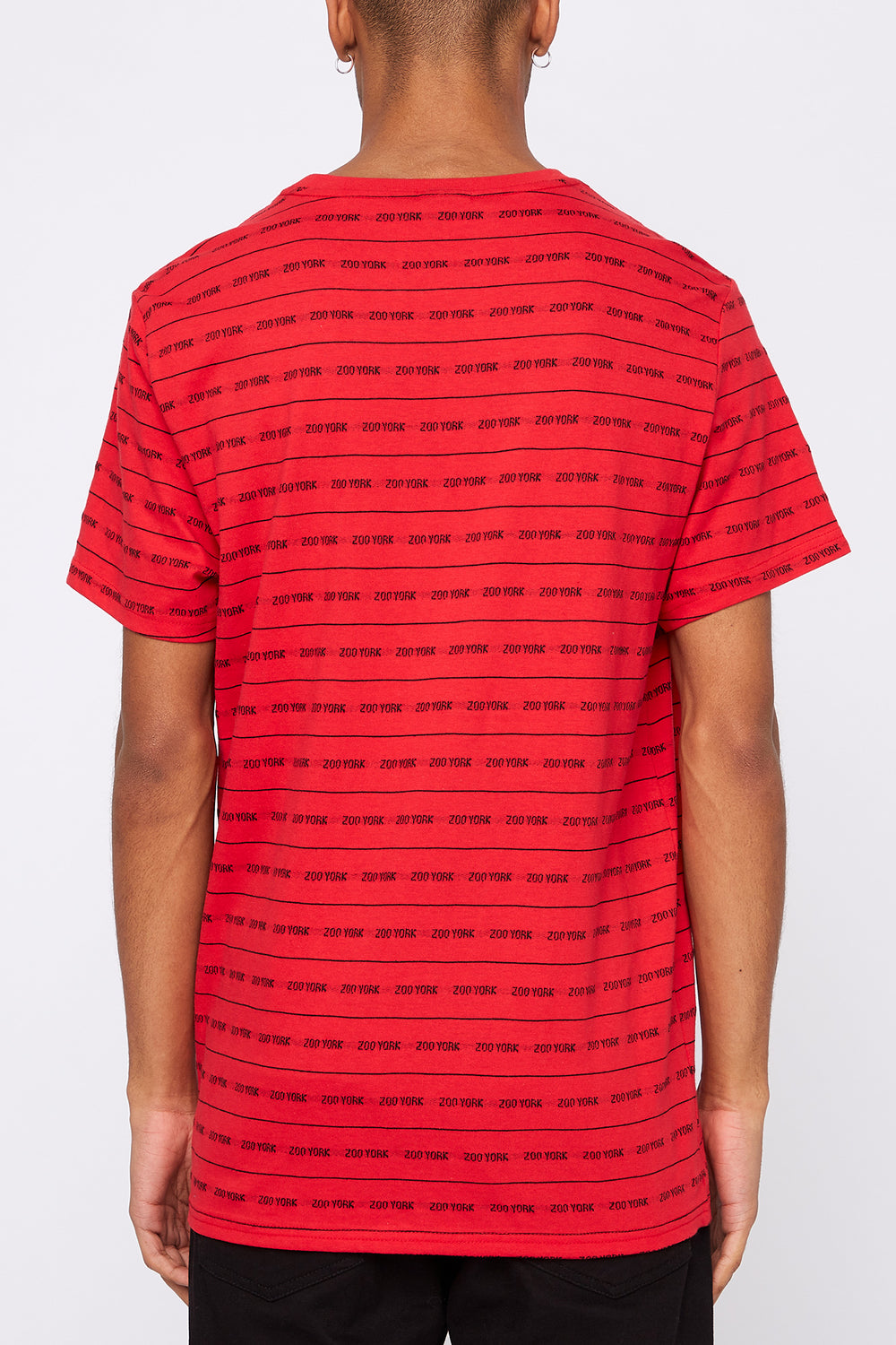Zoo York Mens Jacquard Striped T-Shirt Red