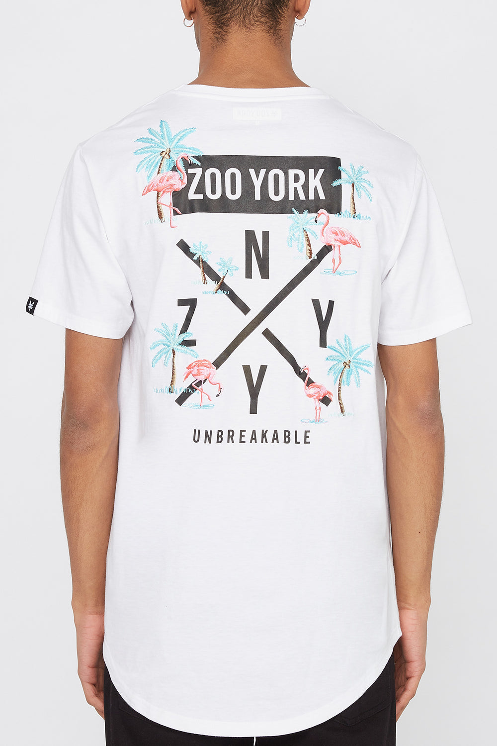 T-Shirt Logo Brodé Flamant Rose Zoo York Homme Blanc