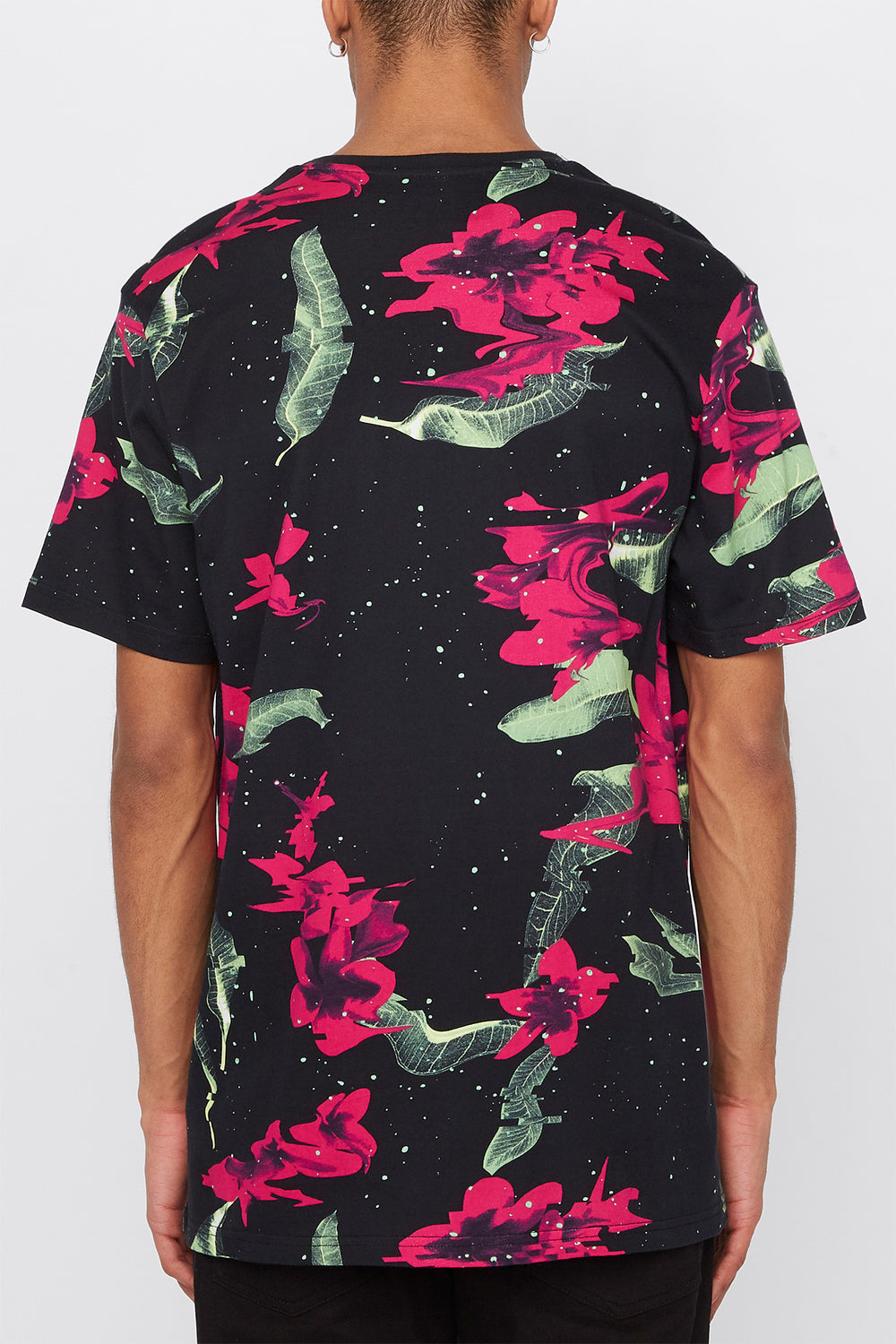 Young & Reckless Mens Neon Floral Print T-Shirt Black