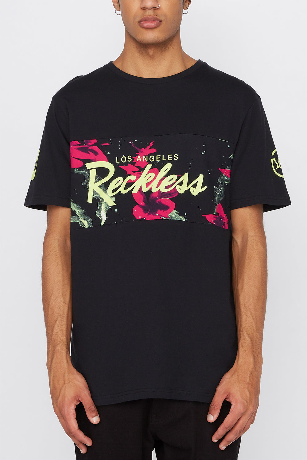 Young & Reckless Mens Neon Floral Panel T-Shirt Black