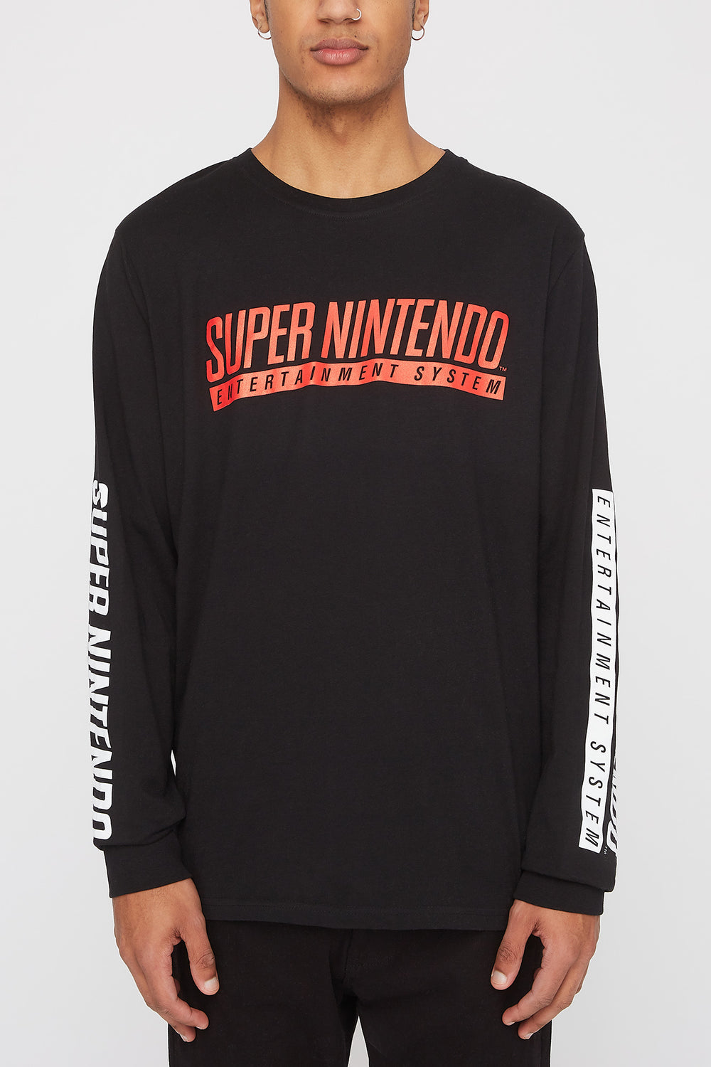 Mens Super Nintendo Long Sleeve Shirt Black