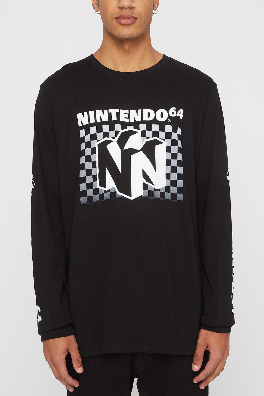Mens Nintendo 64 Long Sleeve Black