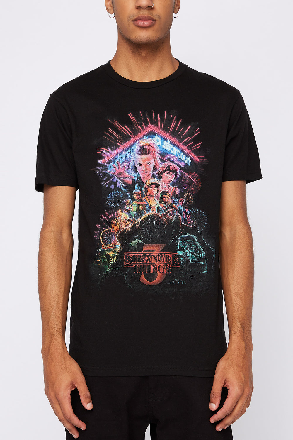 Stranger Things Mens Graphic T-Shirt Black