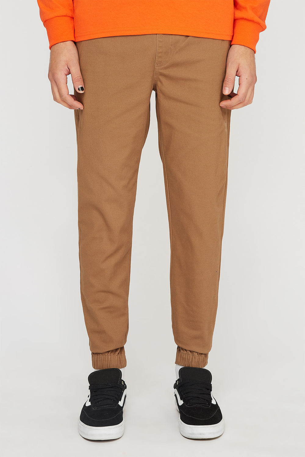 West49 Mens Solid Twill Jogger Camel