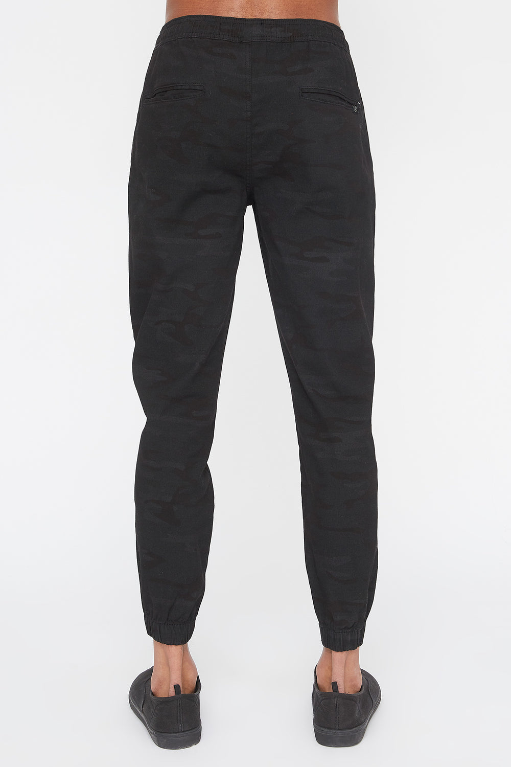 West49 Mens Camo Jogger Black with White