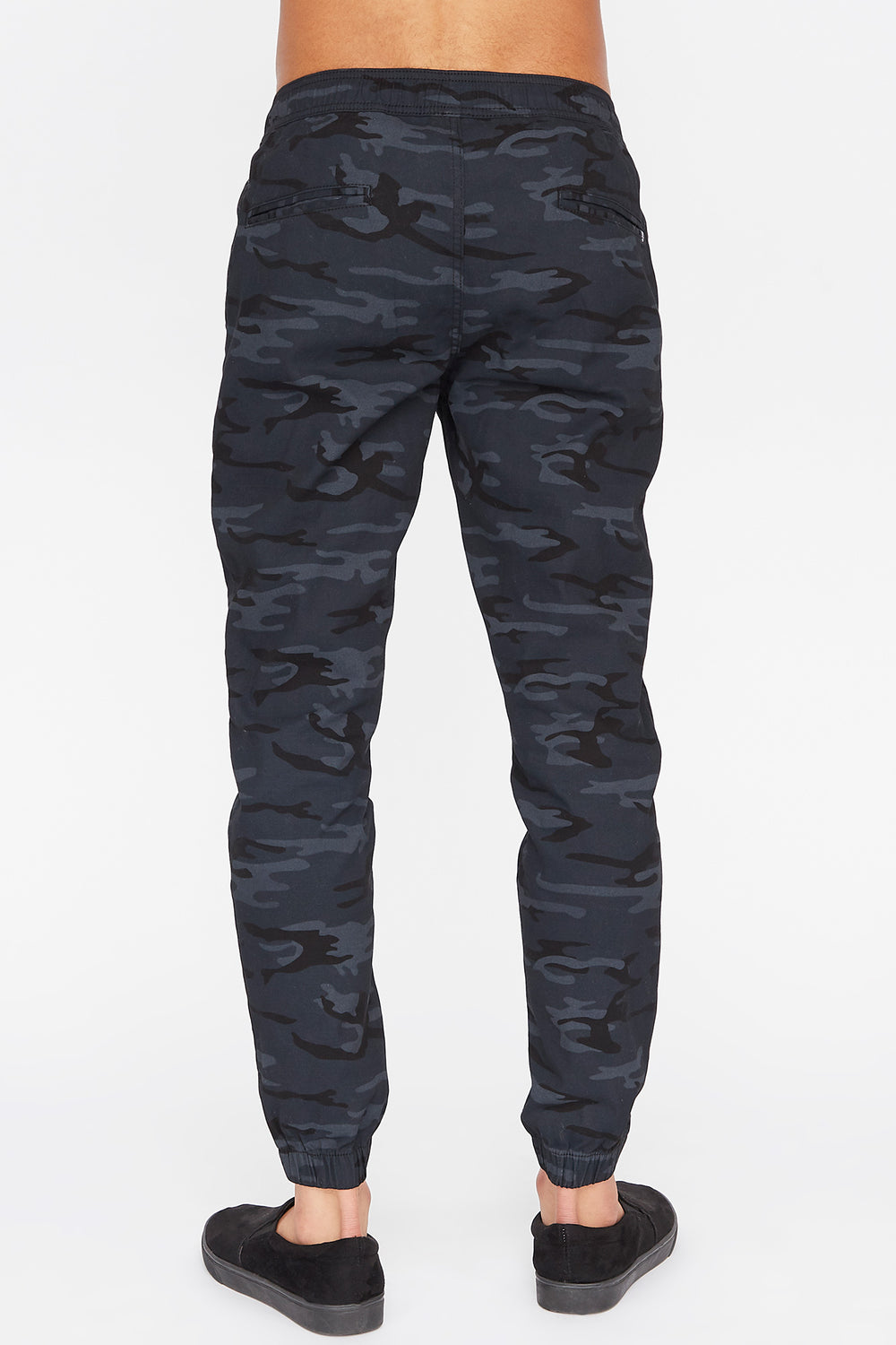 West49 Mens Twill Camo Jogger Black with White