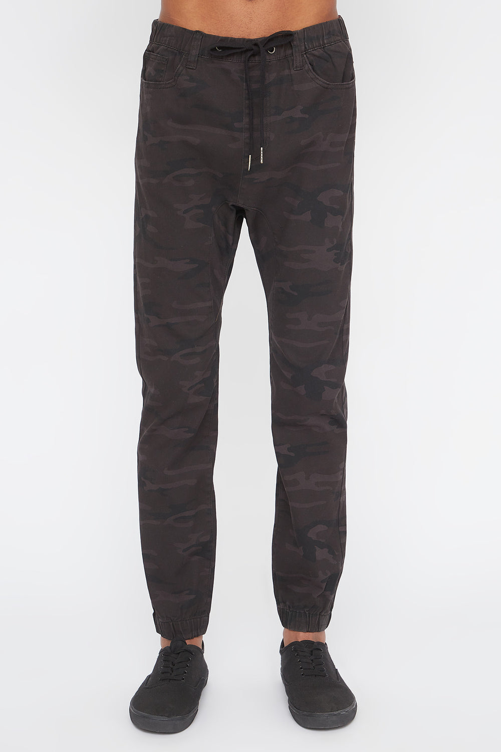 Zoo York Mens Camo 5-Pocket Jogger Black with White