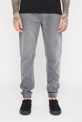 Mens Grey Denim Jogger