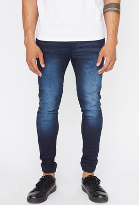 West49 Mens Dark Wash Denim Jogger