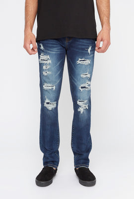 Zoo York Mens Distressed Dark Wash Skinny Jeans