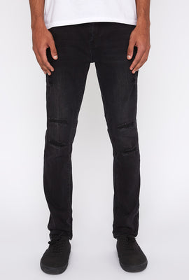 Zoo York Mens Distressed Black Stretch Skinny Jeans