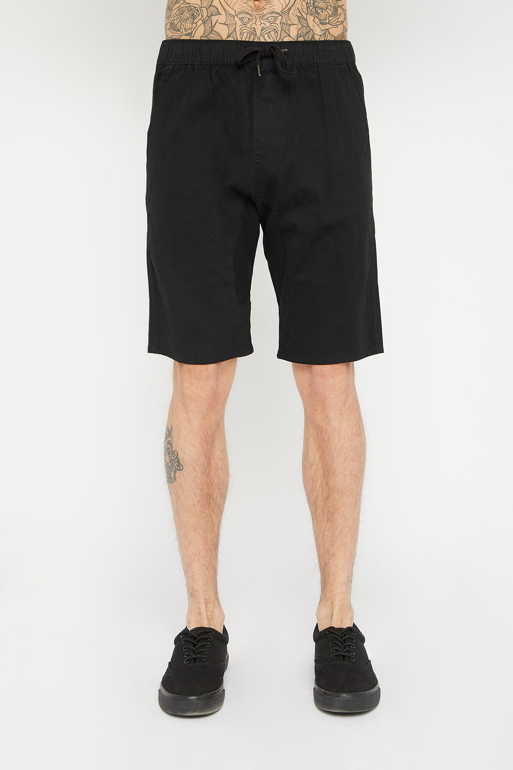 West49 Mens Solid Twill Jogger Short Black