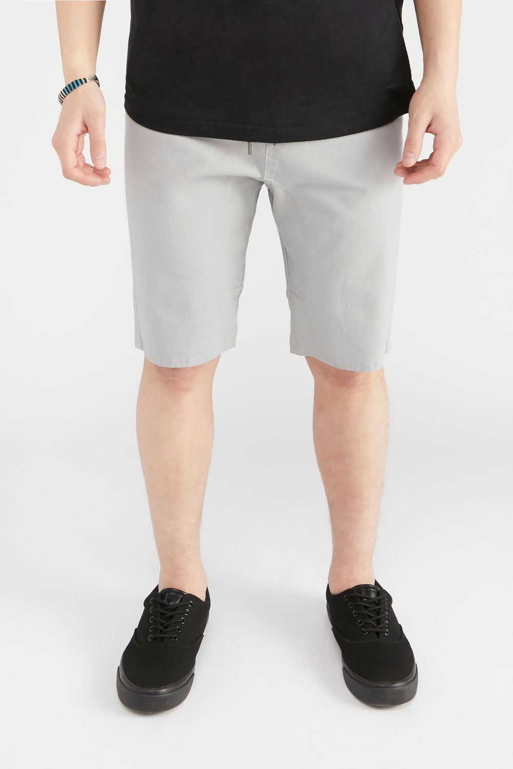 West49 Mens Solid Twill Jogger Short Light Grey