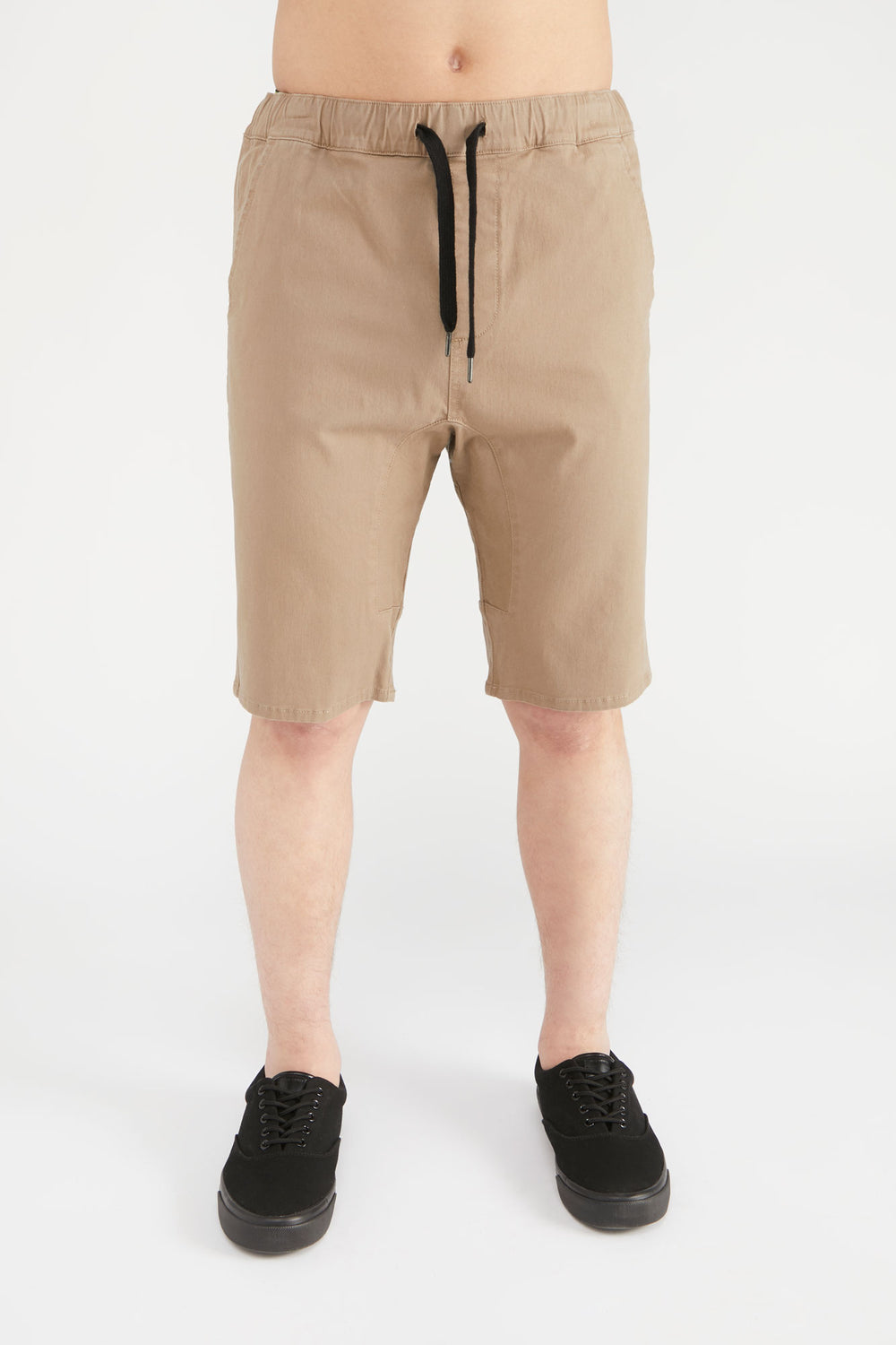 West49 Mens Solid Twill Jogger Short Sand