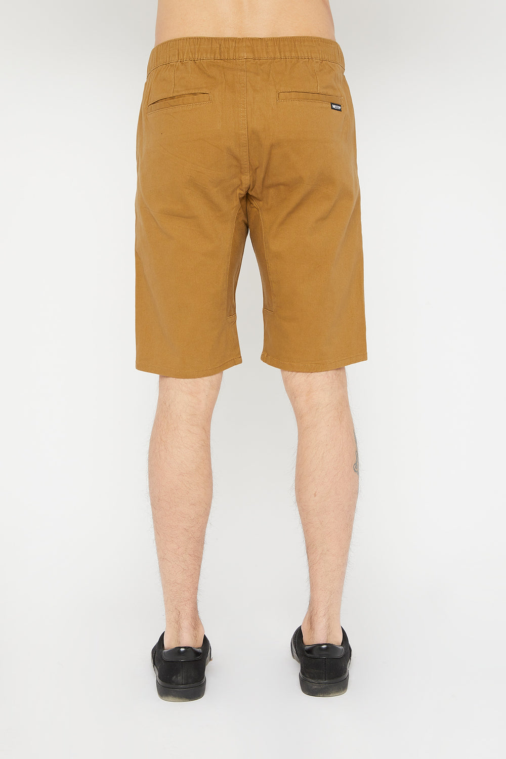West49 Mens Solid Twill Jogger Short Tan