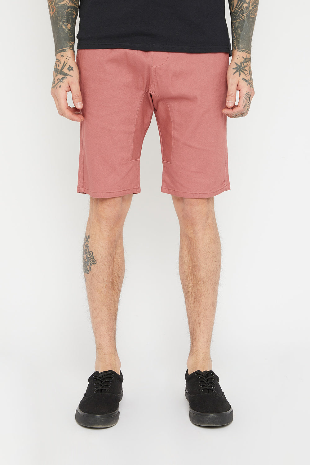 West49 Mens Solid Twill Jogger Short Dark Pink