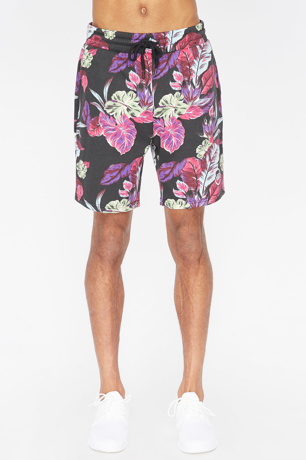 Young & Reckless Mens Neon Floral Shorts Black