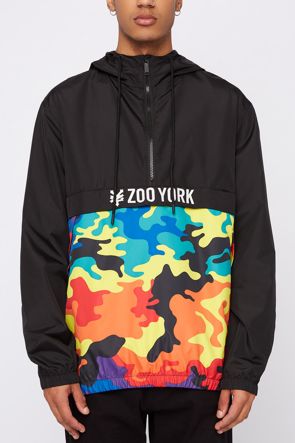 Zoo York Mens Rainbow Camo Colour Block Anorak Multi