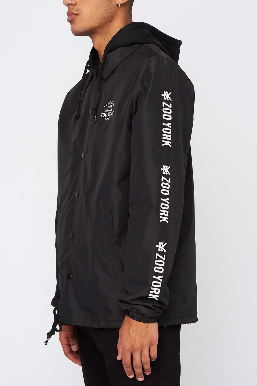 Zoo York Mens Snap-Button Hooded Jacket Black