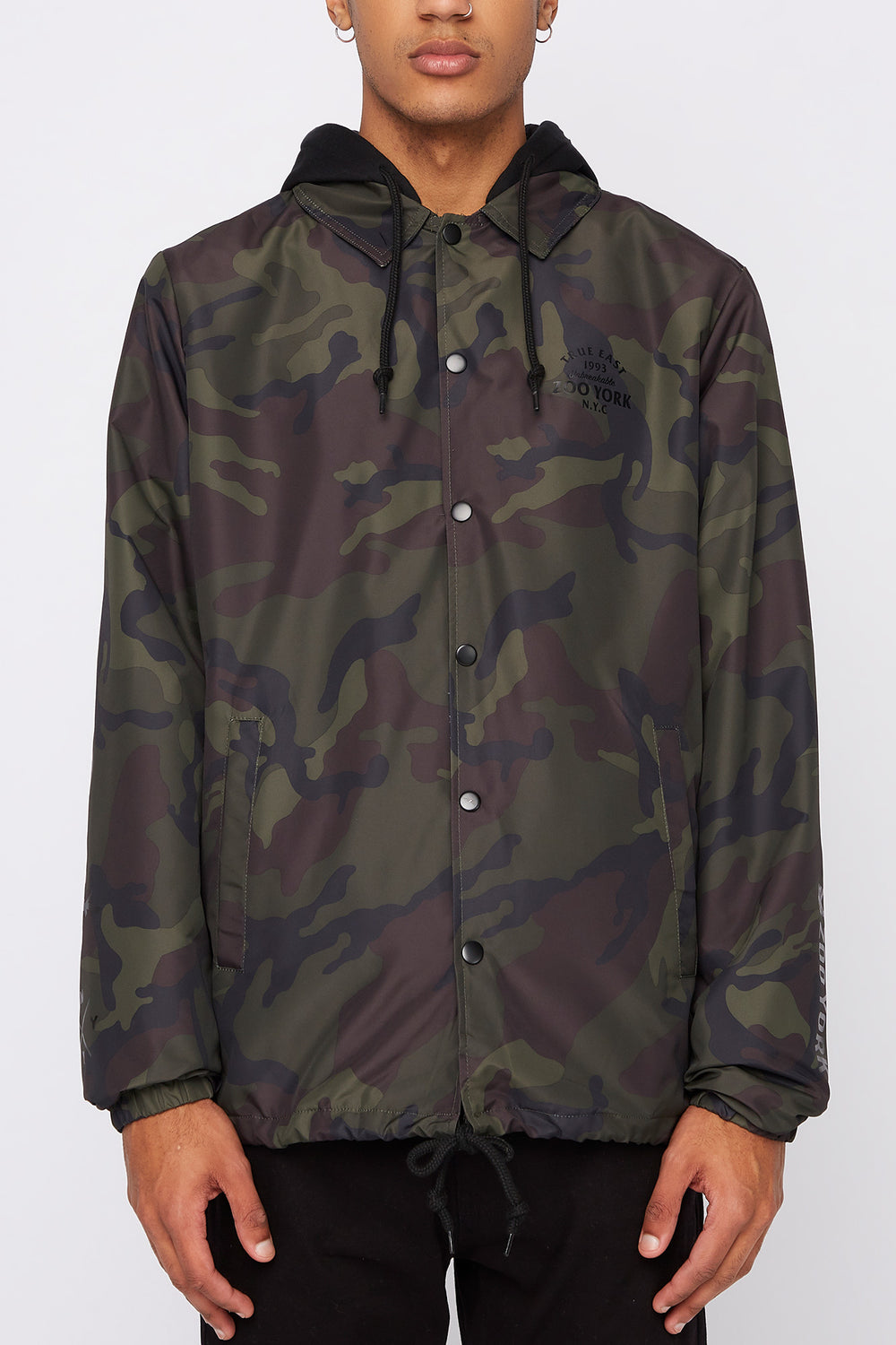 Zoo York Mens Snap-Button Hooded Jacket Camouflage