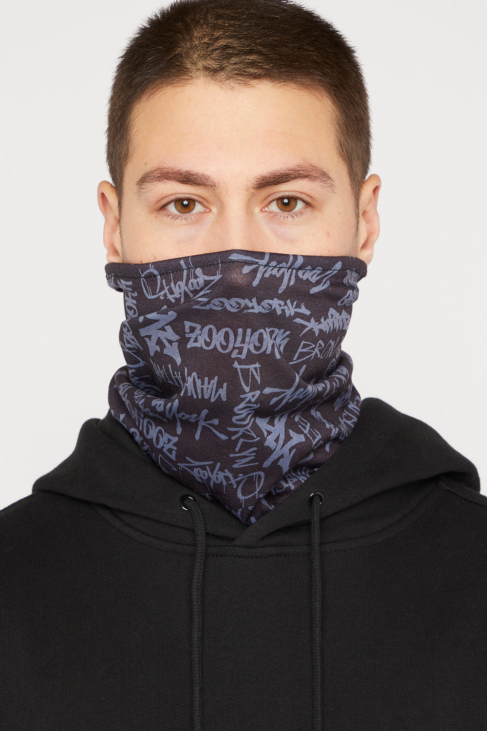 Zoo York Washable & Reusable Bandana Protective Reflective Print Face Mask x2 Charcoal