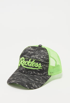 Young & Reckless Mens Camo And Neon Trucker Hat