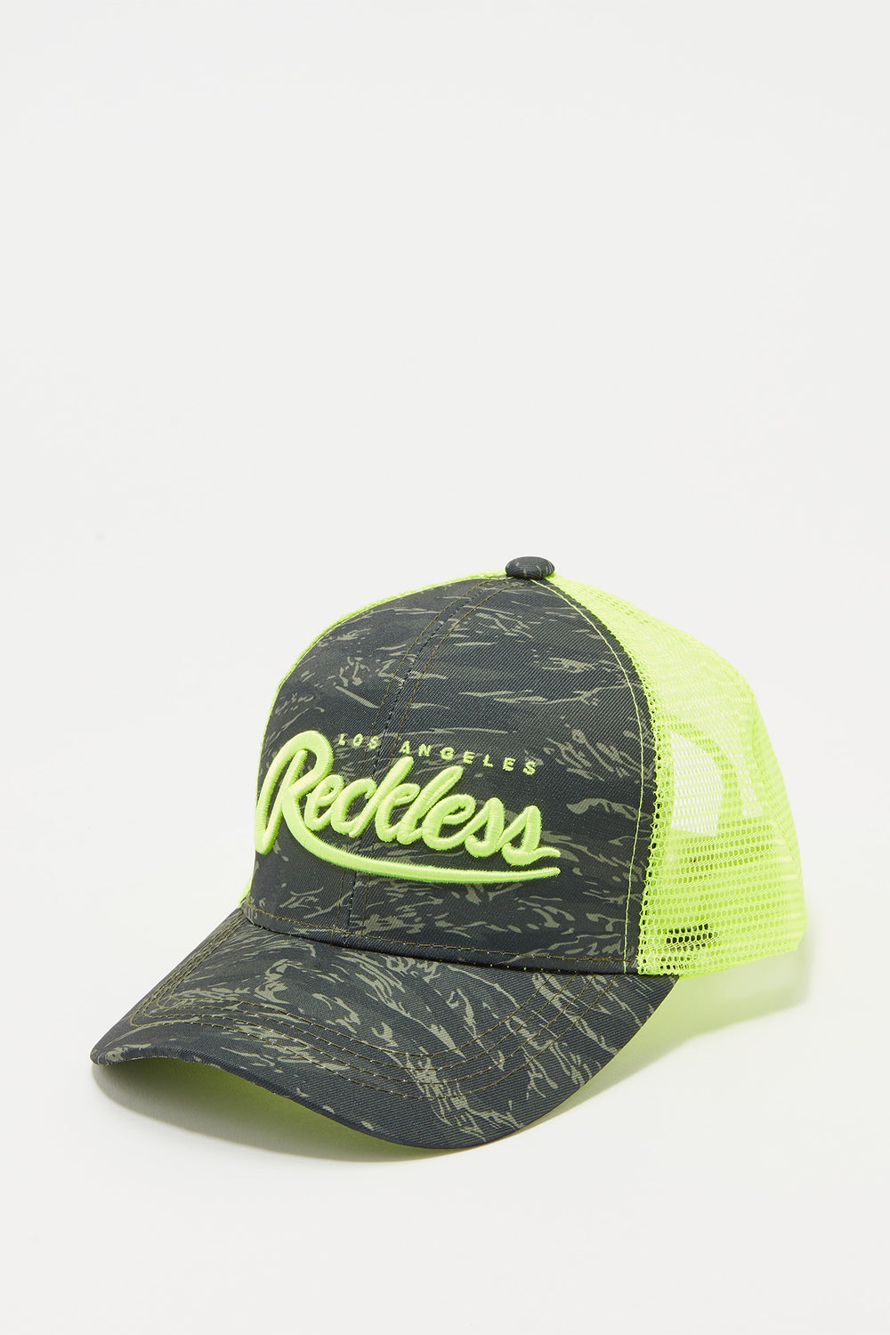 Young & Reckless Mens Camo And Neon Trucker Hat Yellow