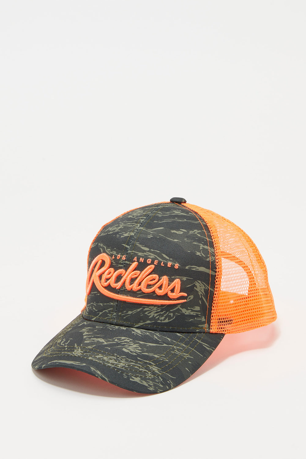 Young & Reckless Mens Camo And Neon Trucker Hat Orange