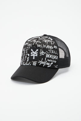 Zoo York Mens All Over Graffiti Print Trucker Hat