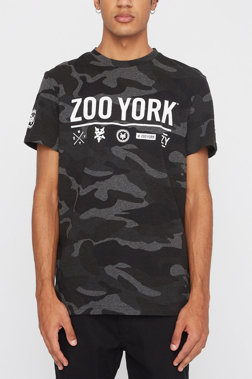 Zoo York Mens Camo Logo T-Shirt Black with White