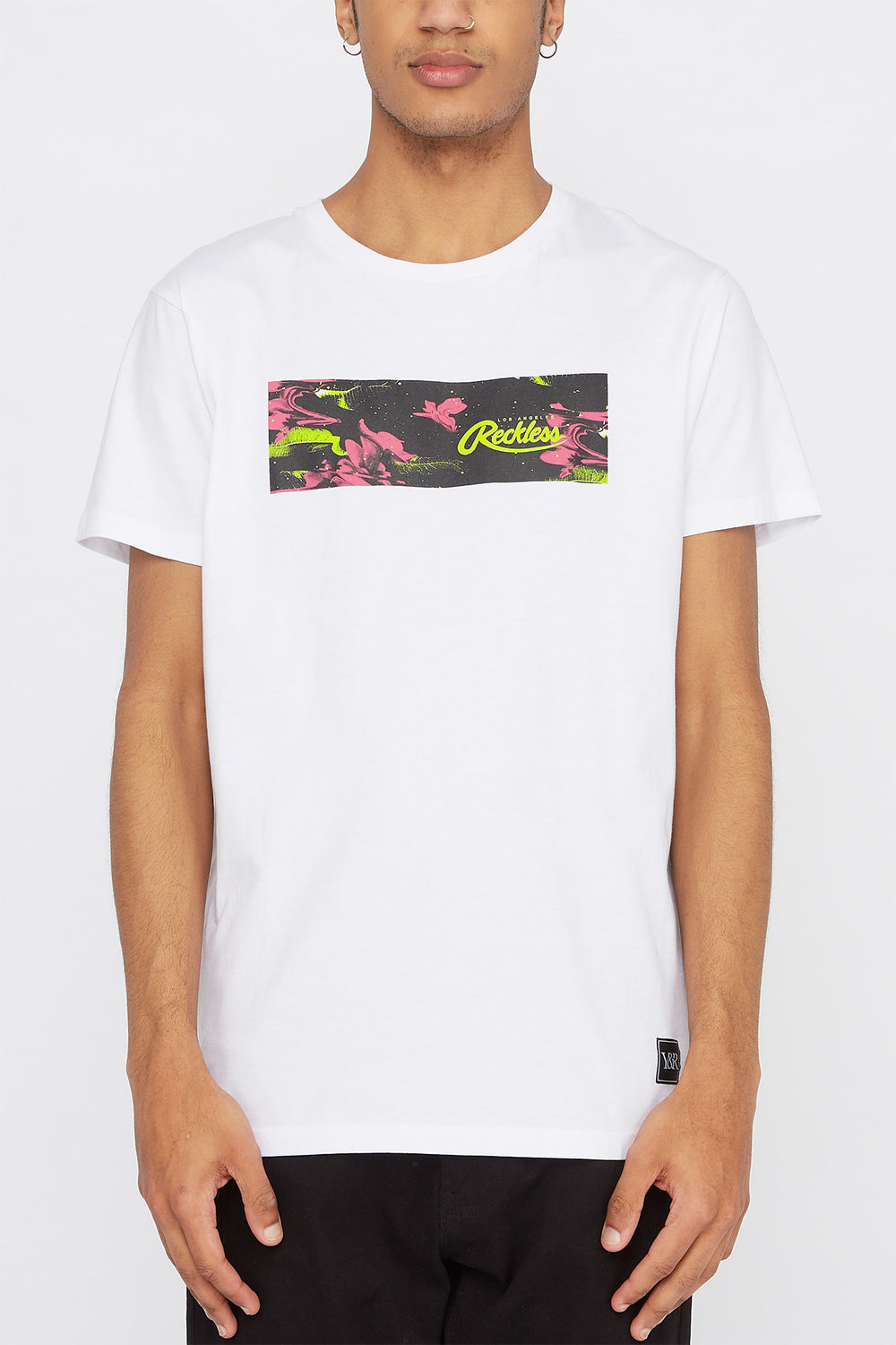 T-Shirt Floral Électrique Young & Reckless Homme Blanc