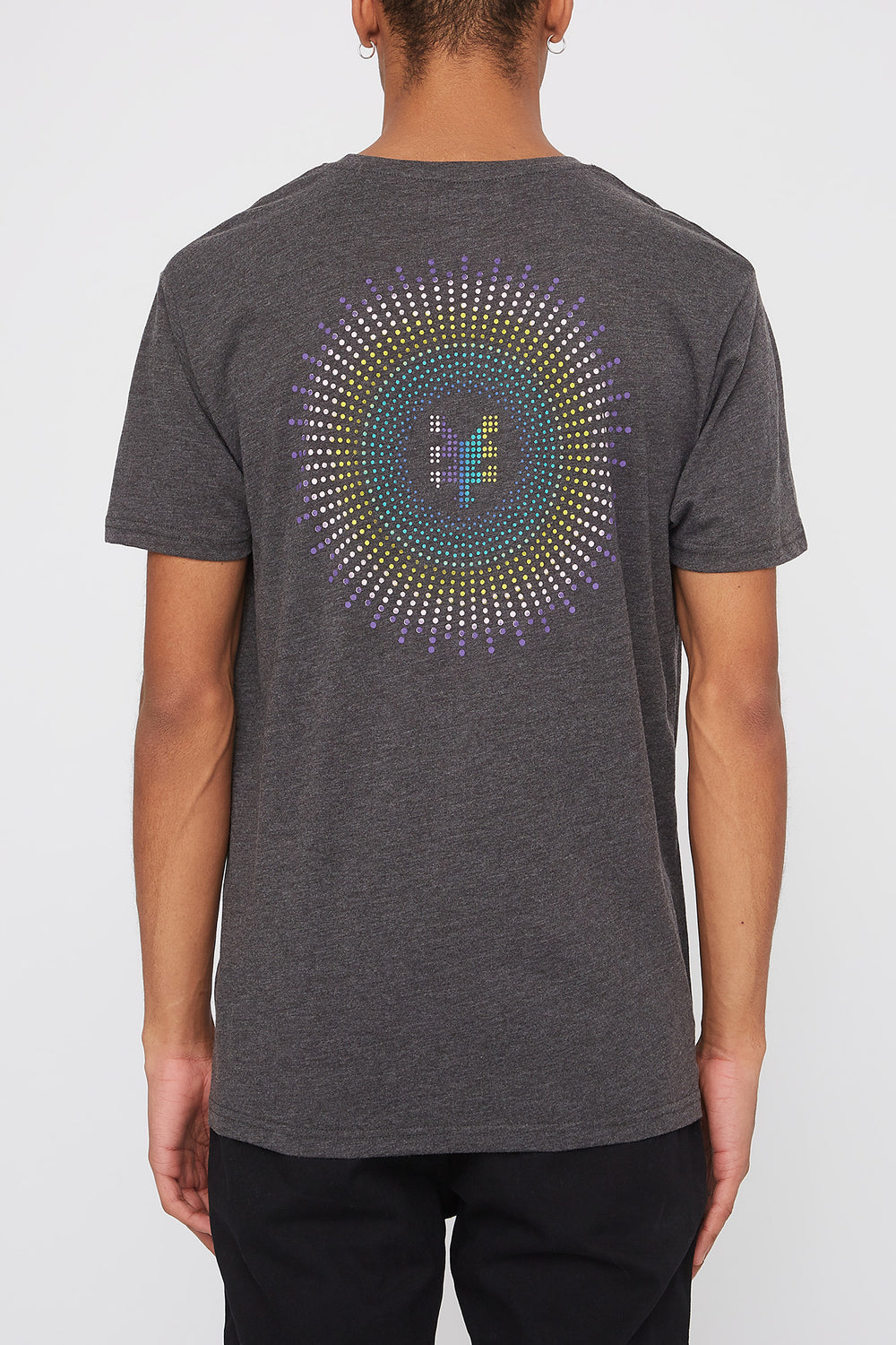 Zoo York Mens Rainbow Dots T-Shirt Charcoal