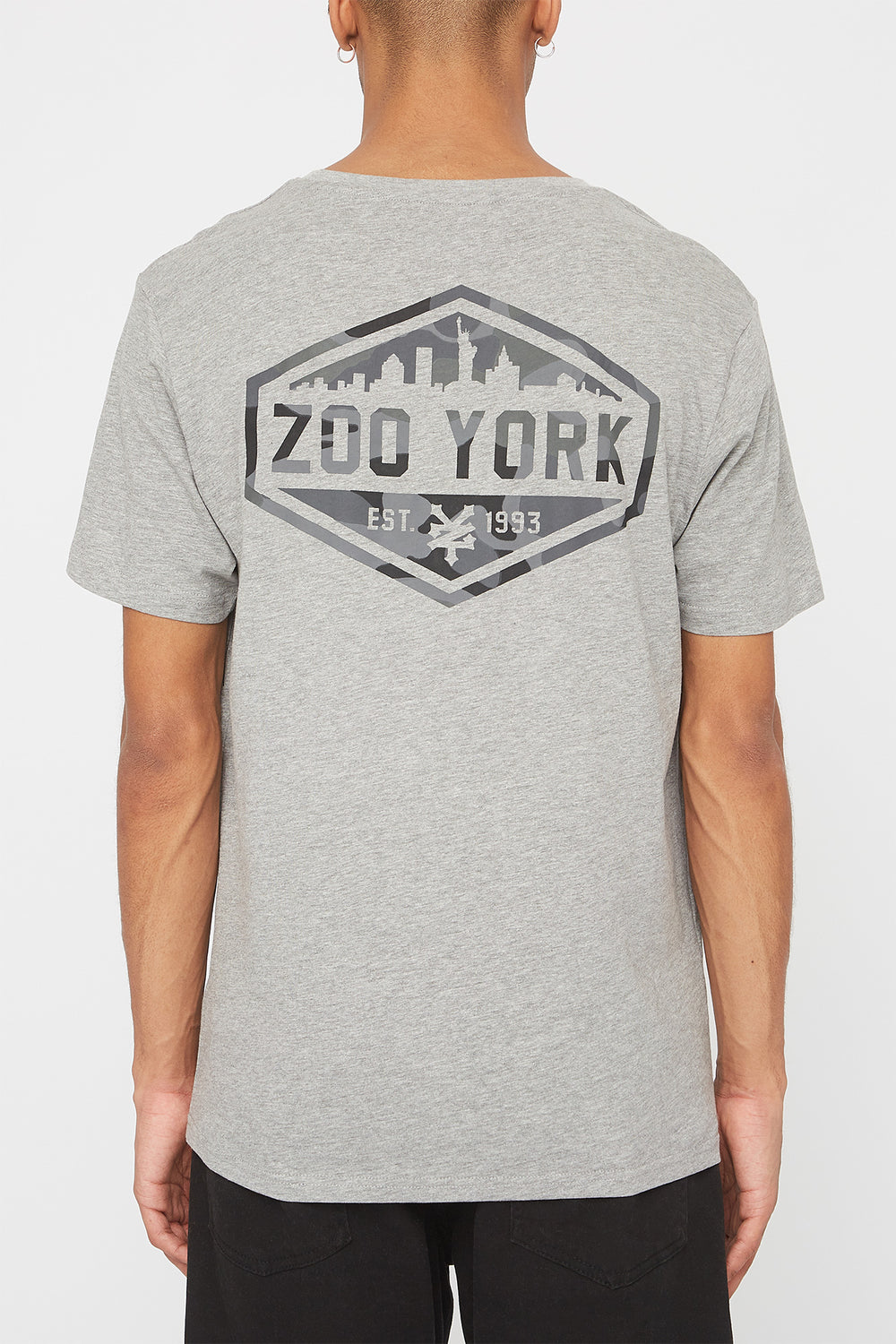 Zoo York Mens Camo Fill Logo T-Shirt Heather Grey