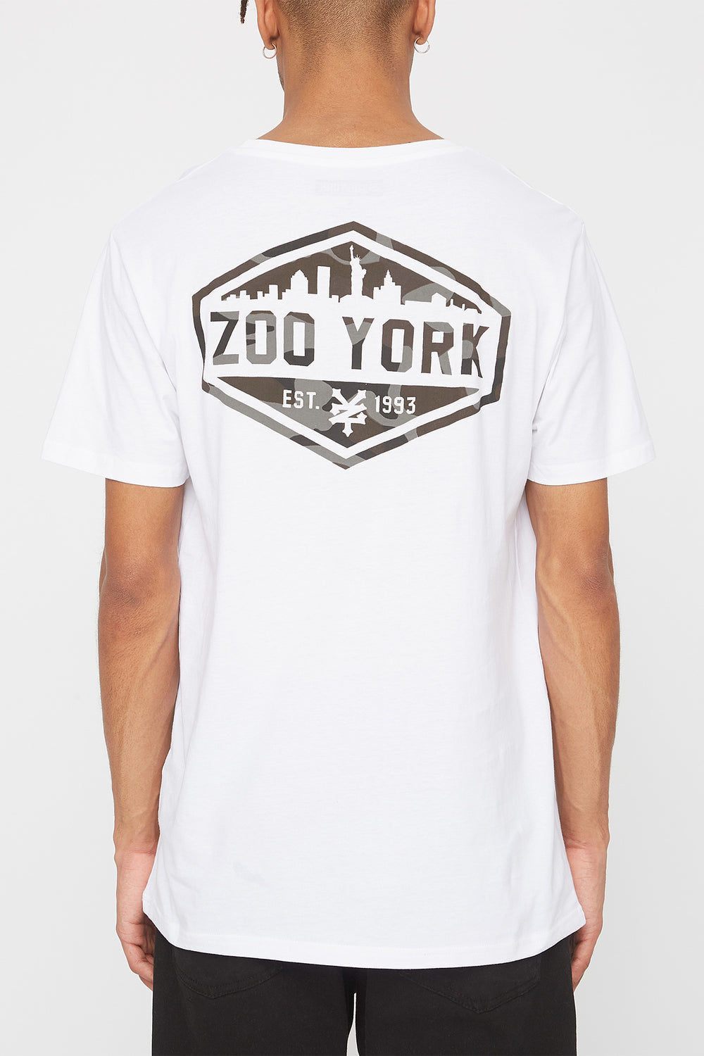 Zoo York Mens Camo Fill Logo T-Shirt White