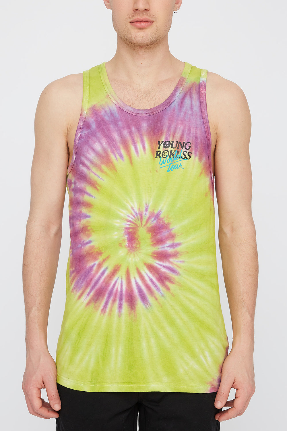 Young & Reckless Mens Tie Dye Tank Top Green