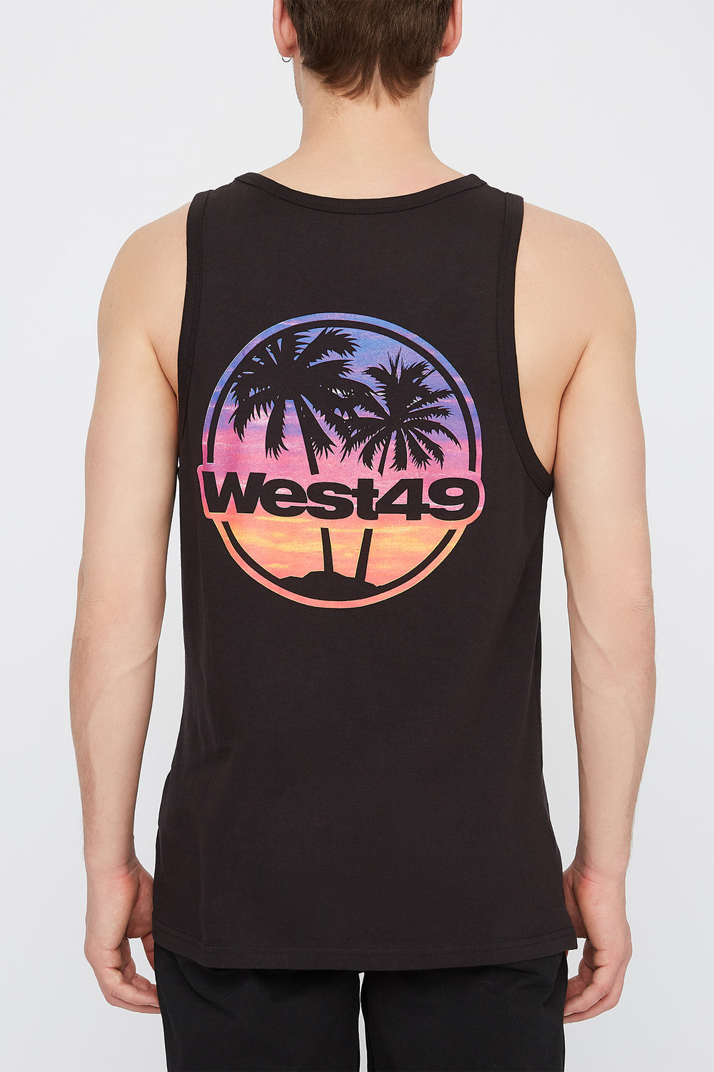 West49 Mens Sunset Logo Tank Top Black